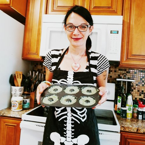 Green donuts before going in the oven - GIVE IT A WHIRL GIRL