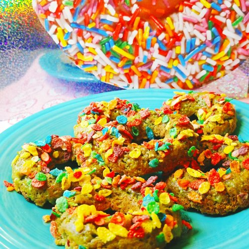Green Donuts with Fruity Pebbles - AKA Sugar Booger