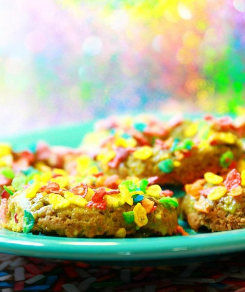 Weirdly colored Green donuts with Fruity Pebbles - AKA Sugar Booger