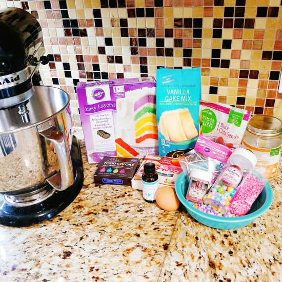 Most of the ingredients I used in the Cotton Candy Cake - Give It A Whirl Girl