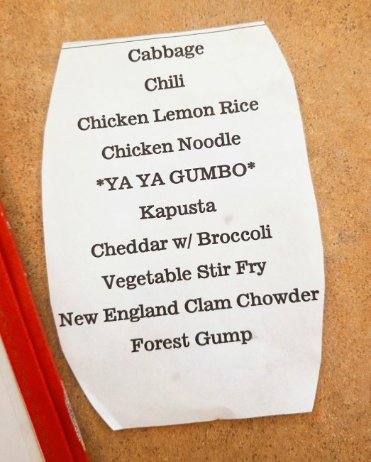 Apple Annie's Soup-of-the- Day list