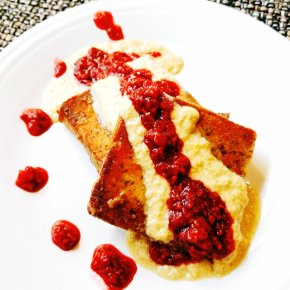 Paleo French Toast w/ chia and flax, vanilla custard, and raspberry compote