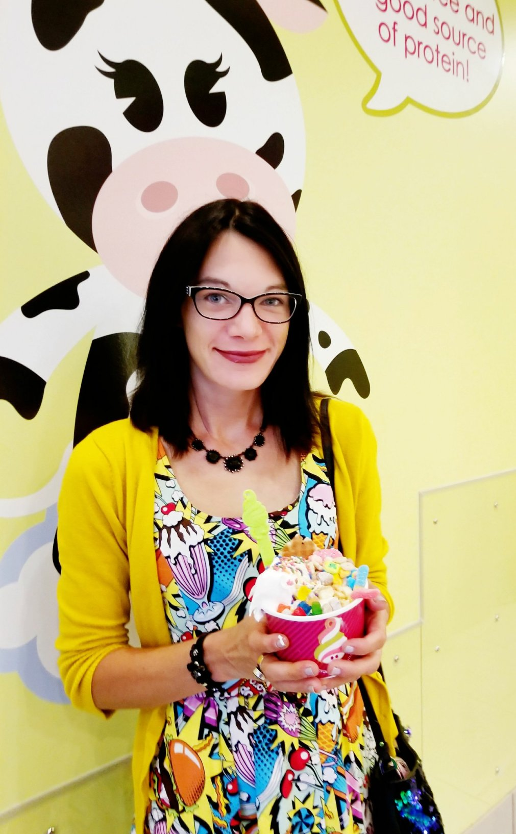 Give It A Whirl Girl with her Menchie's Froyo Creation