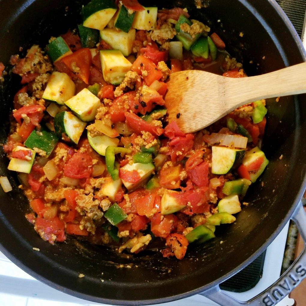 Paleo Turkey & Turmeric Chili simmering in the Staub