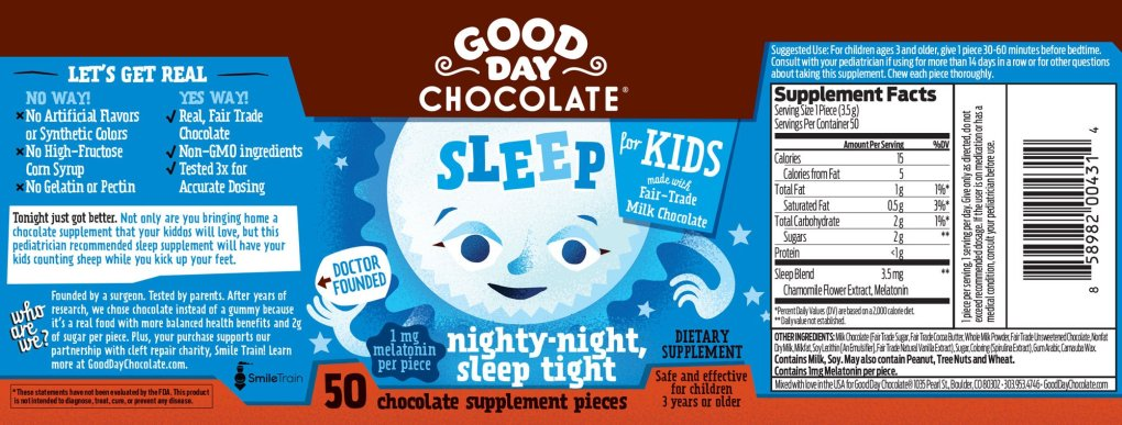 Label for Good Day Chocolate For Kids Sleep supplement