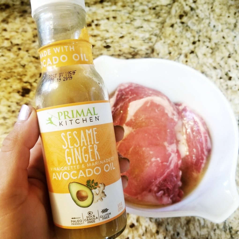 Primal Kitchen Sesame Ginger Dressing/Marinade with ribeye steaks