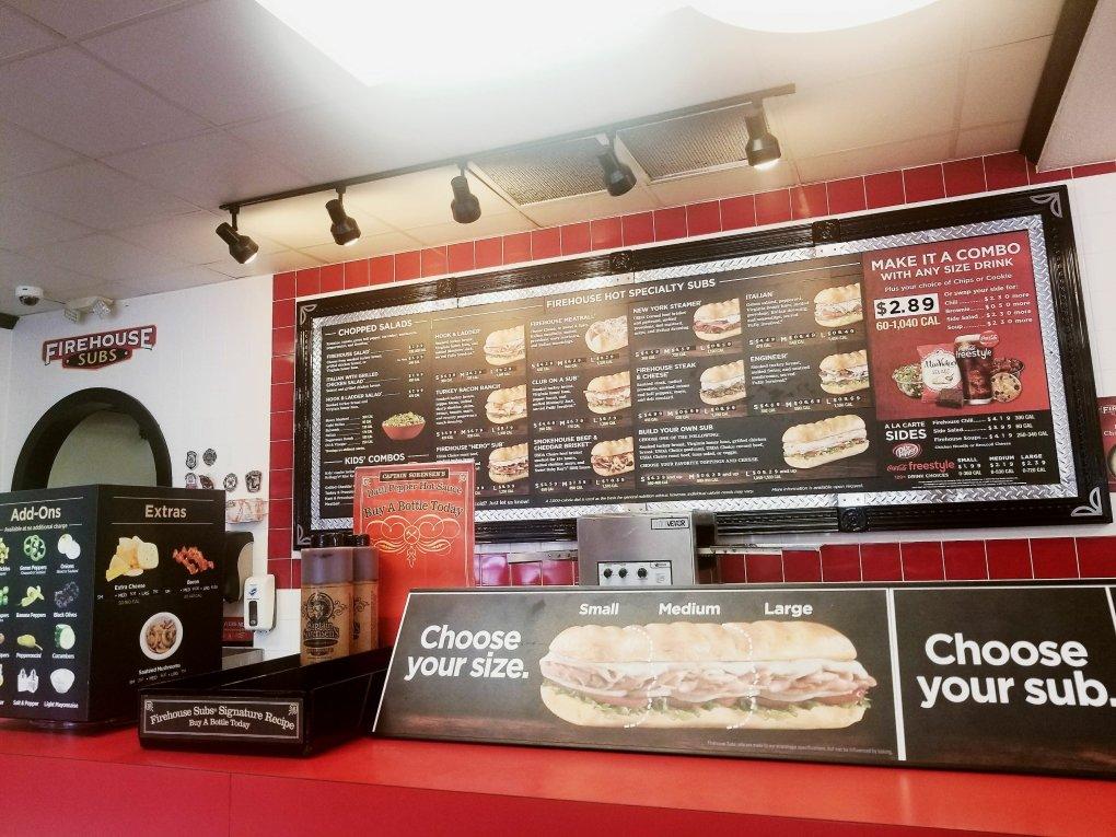 Firehouse Subs menu board in Roseville, MI