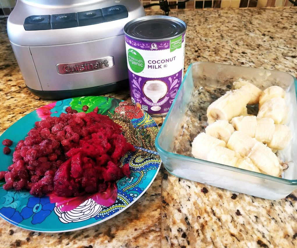 Ingredients used to make Cactus Pear & Pomegranate With Enjoy Life Foods Protein Bites Nice-Cream