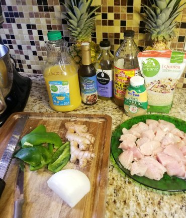 Most of the ingredients for Pineapples Stuffed With Sweet Teriyaki Chicken and Ginger/Orange Quinoa - Gluten-Free