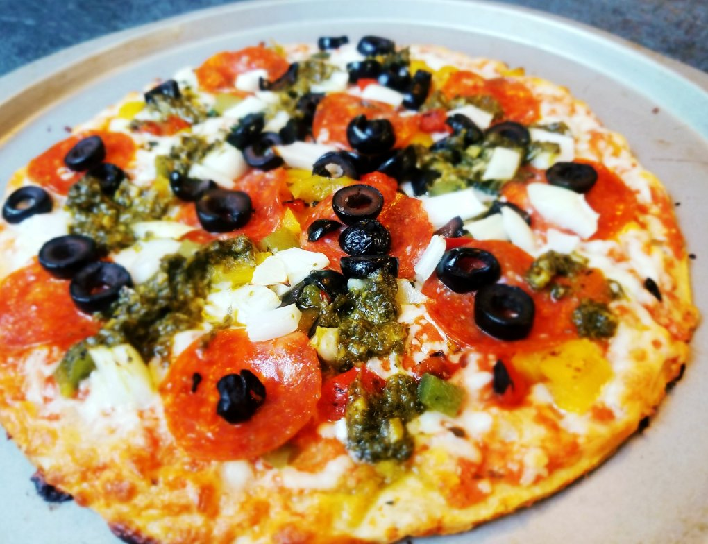 Caulipower Veggie Pizza with some extra toppings