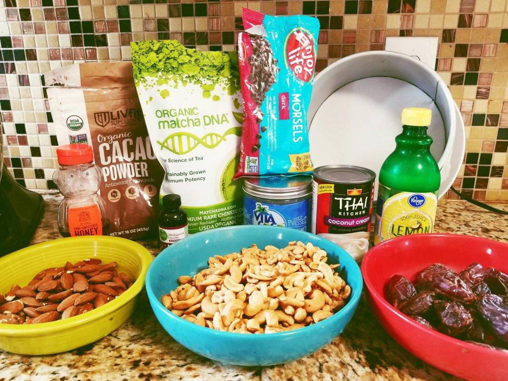 Ingredients for Matcha & Chocolate Vegan Cheesecake