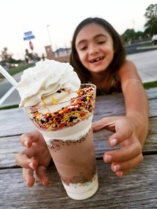 Chloe with her Candy Parfait at Erma's Frozen Custard