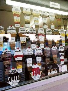 Flavor board of parfaits at Erma's Frozen Custard in St. Clair Shores, MI
