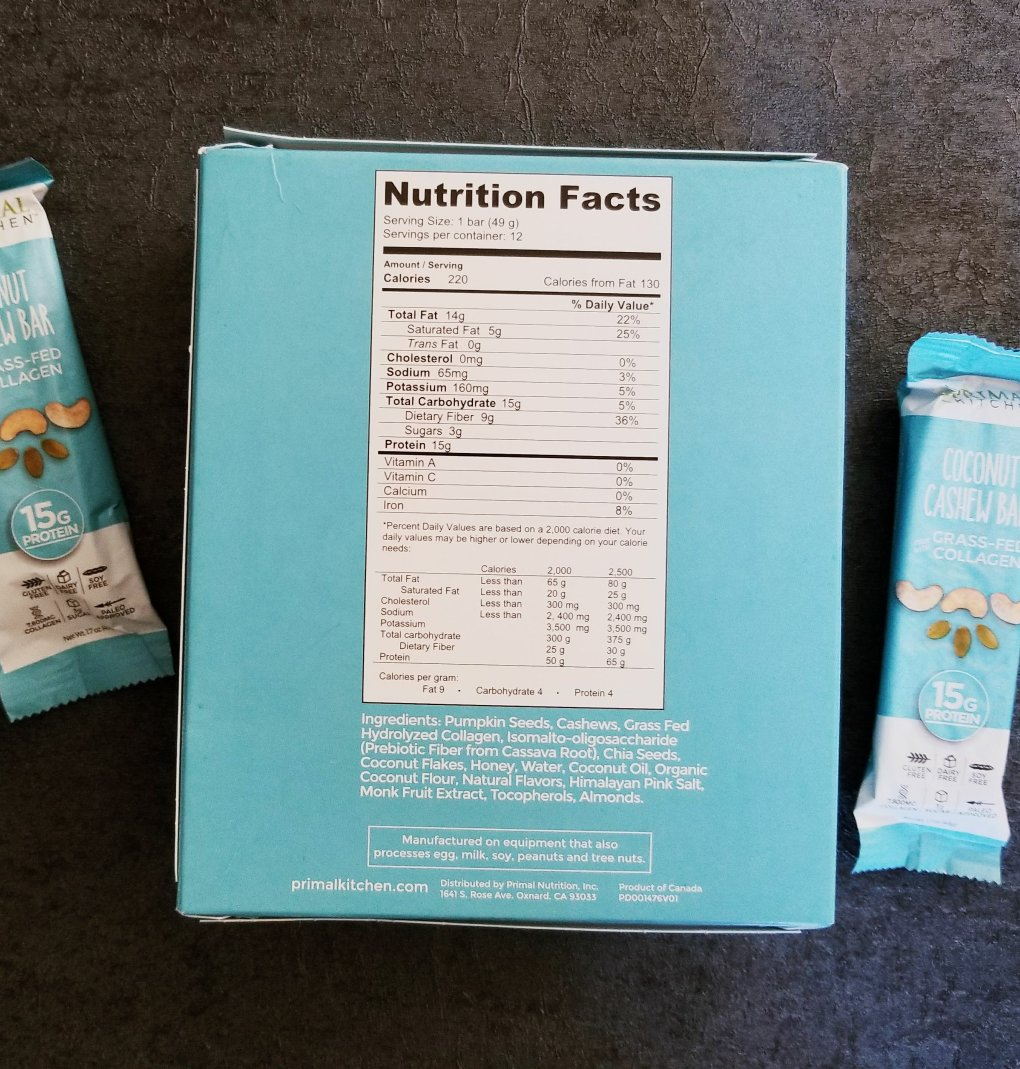 Primal Kitchen Coconut Cashew Collagen Bars nutrition facts