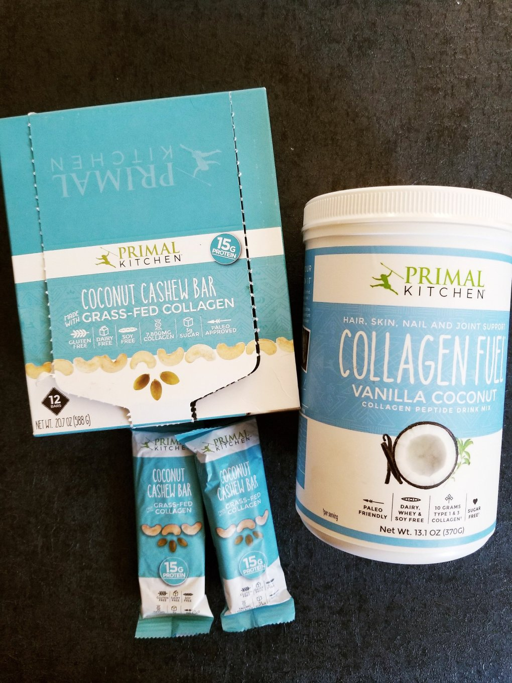 Primal Kitchen Coconut Cashew Collagen Bars & Collagen Fuel