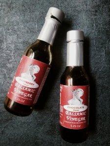 Raspberry balsamic vinegar and chocolate balsamic vinegar bottles from Devries & Company 1887