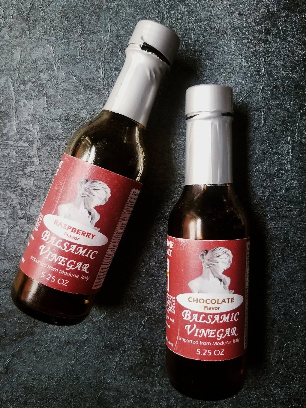 Raspberry balsamic vinegar and chocolate balsamic vinegar bottles from Devries & Company 1887