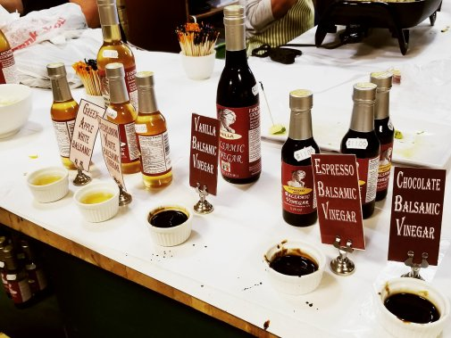 Various balsamic vinegars to sample at DeVries & Company 1887 - Detroit, MI