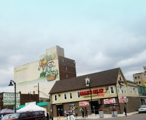Eastern Market in Detroit, MI - The home of many food vendors selling produce, meat, cheese, plants, and flowers.