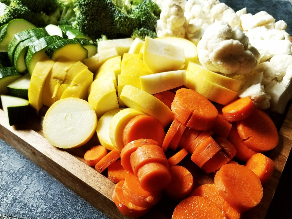 Chopped vegetables on the cutting board for Paleo Vegetable Beef Soup