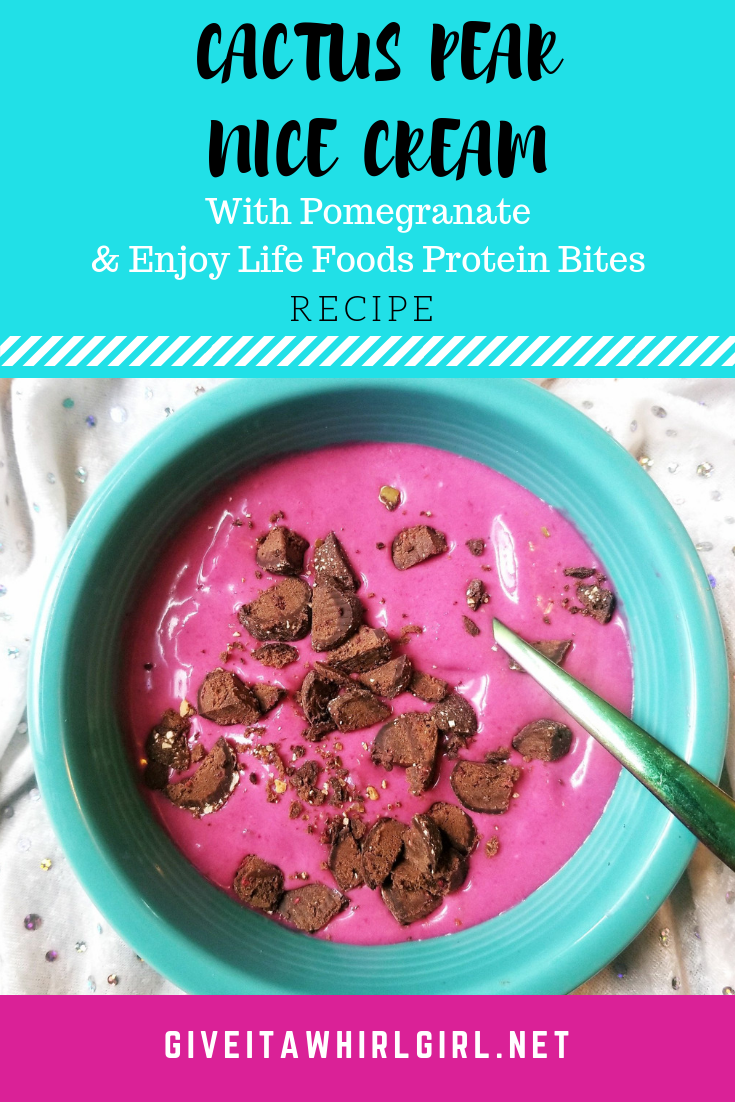 Cactus Pear Nice Cream RECIPE with Pomegranate and Enjoy Life Foods Protein Bites