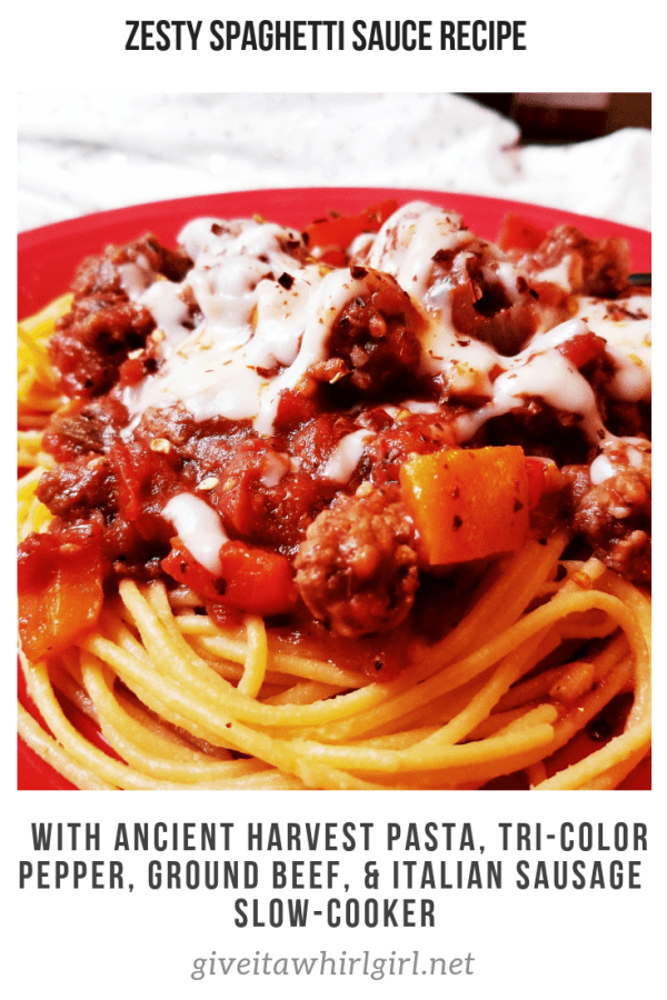 Zesty Spaghetti Sauce RECIPE With Ancient Harvest, Tri-Color Pepper, Ground Beef, & Italian Sausage - Slow-Cooker by Give It A Whirl Girl