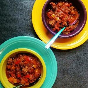Tri-Color Pepper Bison Chili