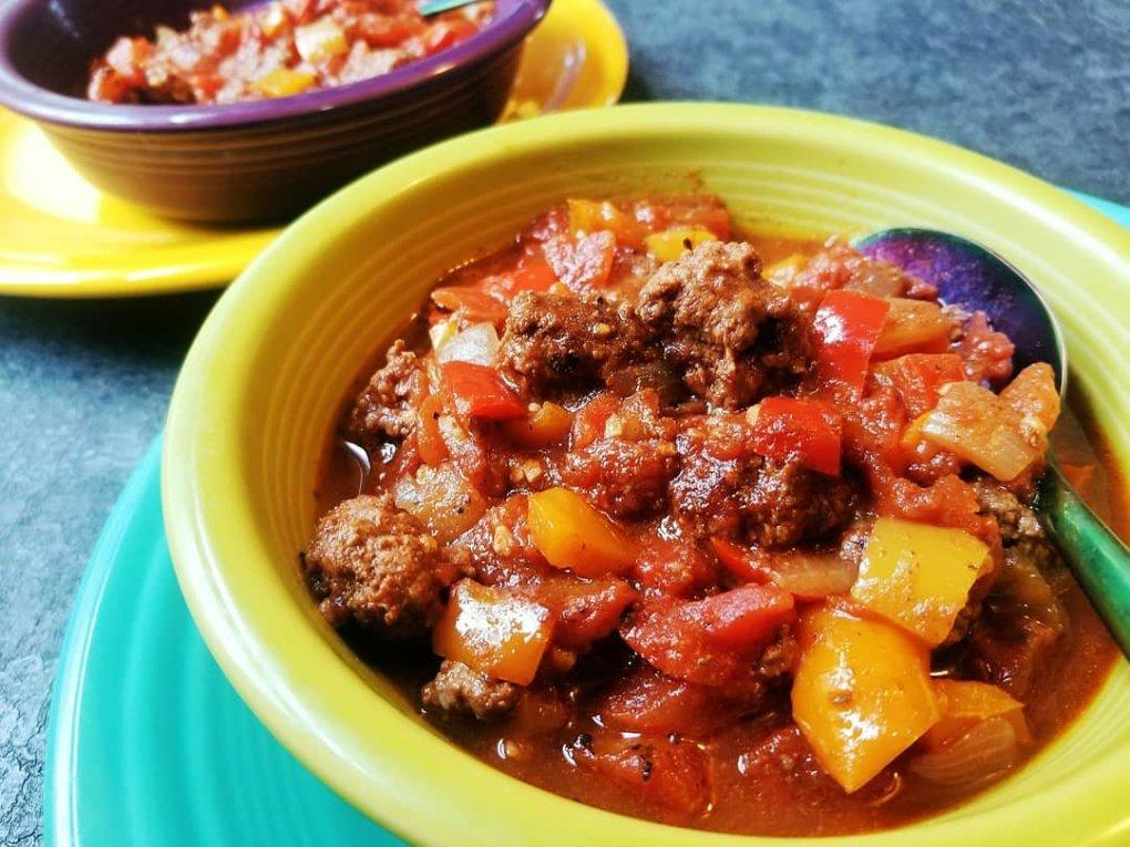 Tri-Color Pepper Bison Chili - Paleo and gluten-free