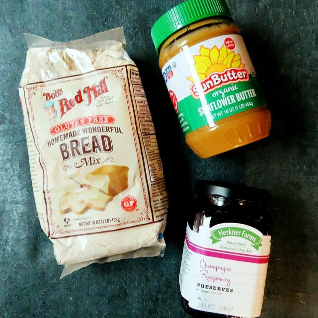 Bob's Red Mill Wonderful Bread Mix, Organic Sunbutter, and Herkner Farms Champagne Raspberry Preserves