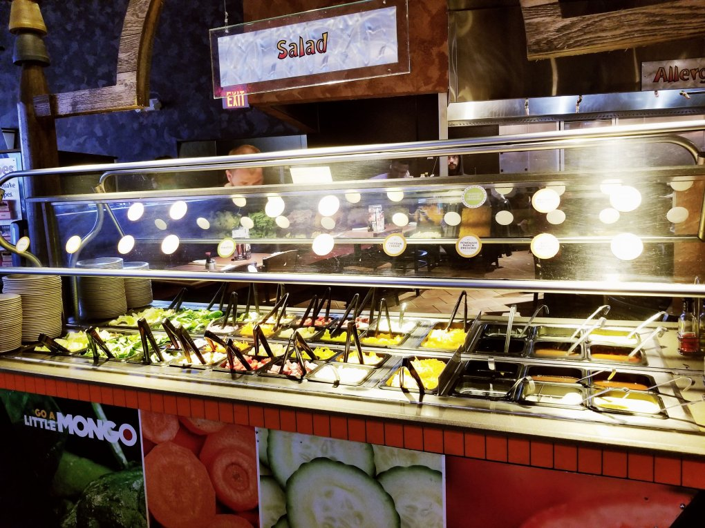 All-you-can-eat salad bar area at BD's Mongolian Grill