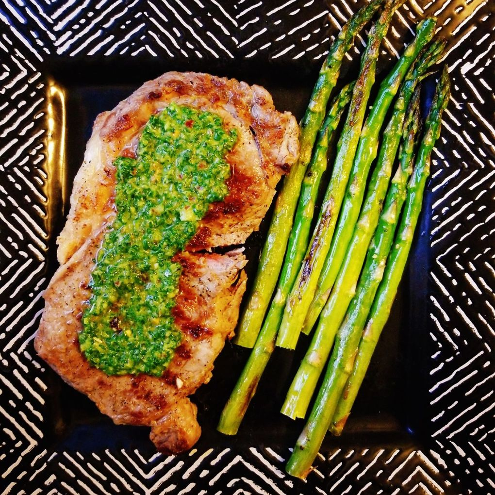 Cast Iron Medium Rare Ribeye Steak with Chimichurr