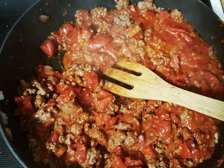 Grass-fed beef, tomatoes, shallots, and minced garlic