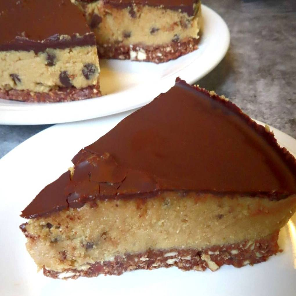 Nice slice of vegan, gluten-free Chocolate Chip Cookie Dough Cheesecake
