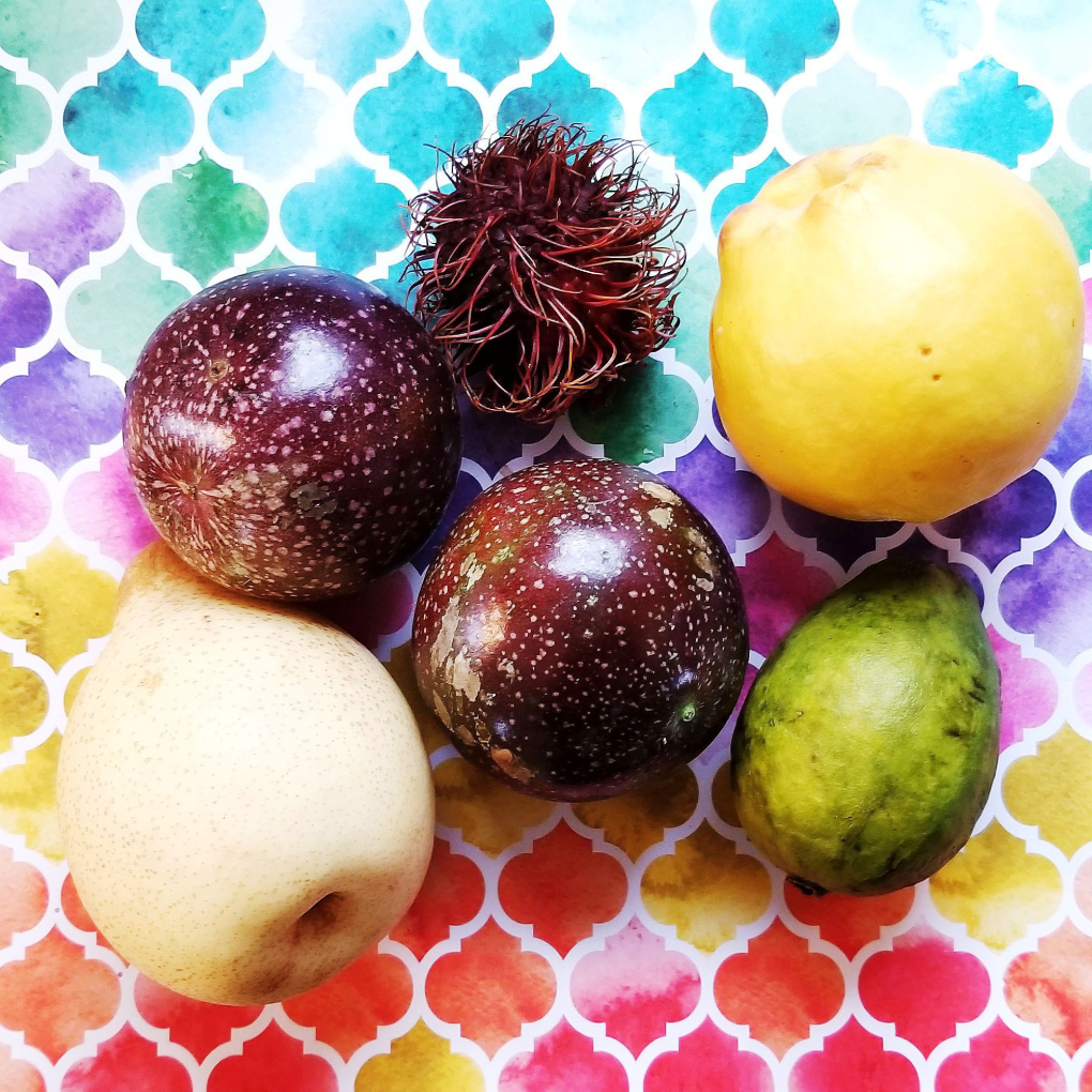 Exotic fruits that I purchased at Nino Salvaggio