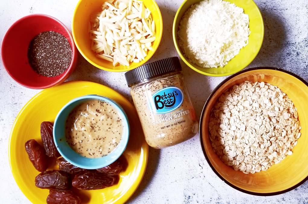 Ingredients used for Toasted Coconut, Almond, & Chia Energy Balls No-Bake recipe