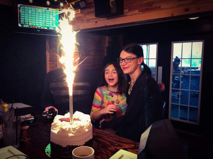 Me and my daughter, Chloe, and my birthday cake with the super awesome candle provided by Terry's Terrace - GIVE IT A WHIRL GIRL , Terry's Terrace Restaurant Review