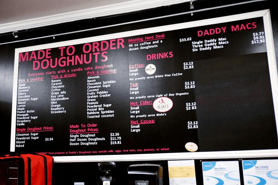 Daddy's Doughnuts menu board