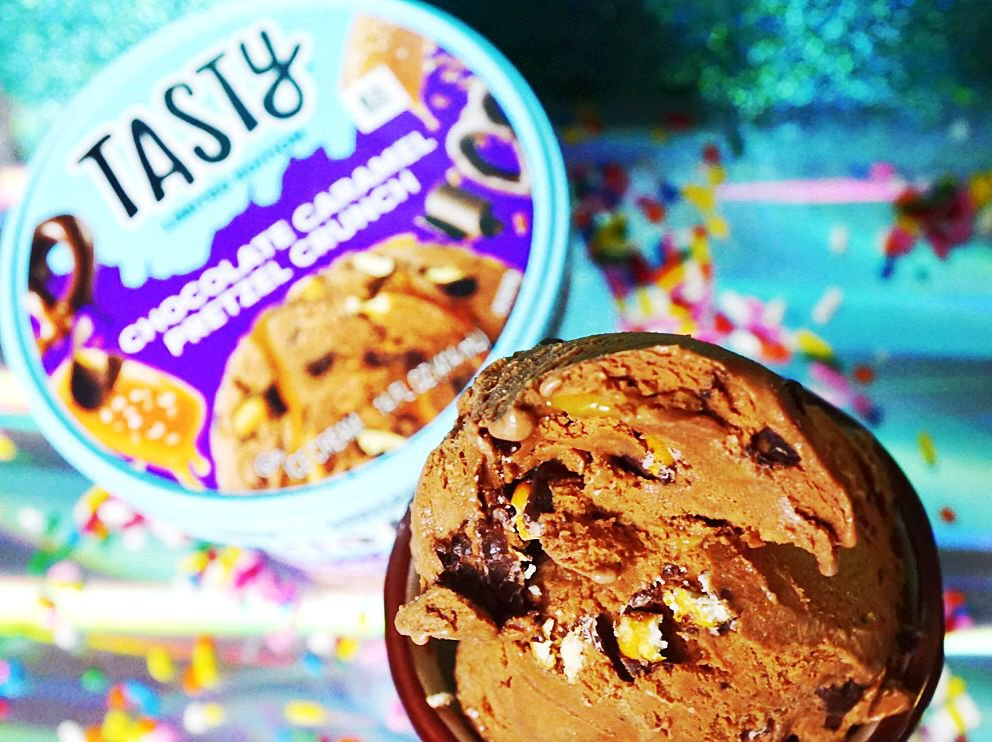 Chocolate Caramel Pretzel Crunch ice-cream from Tasty brand