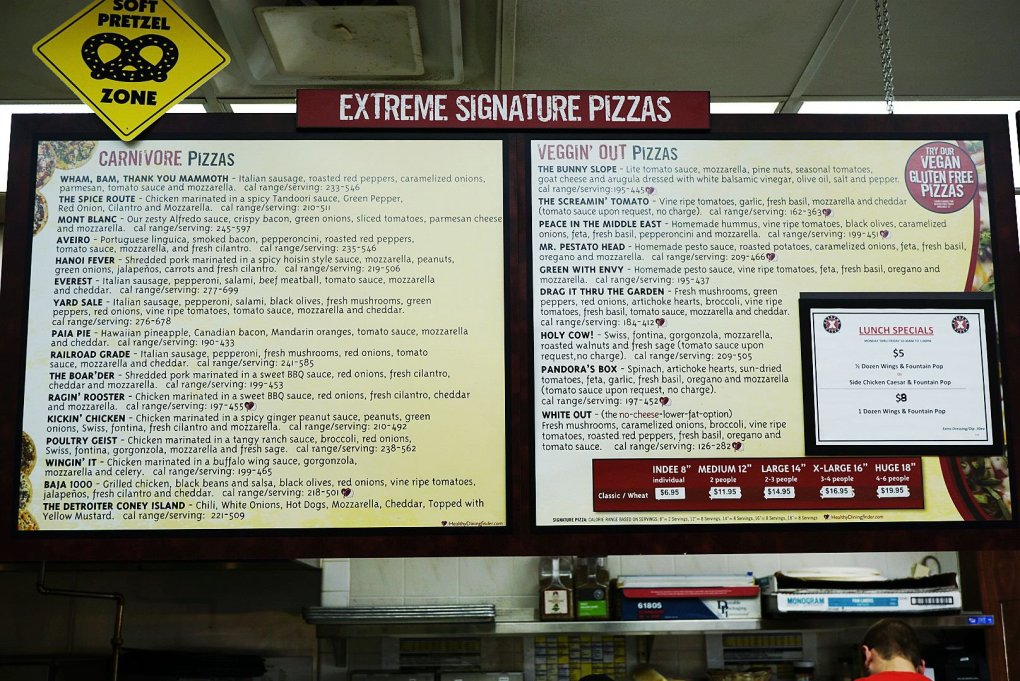 Extreme Signature Pizzas Menu at Extreme Pizza