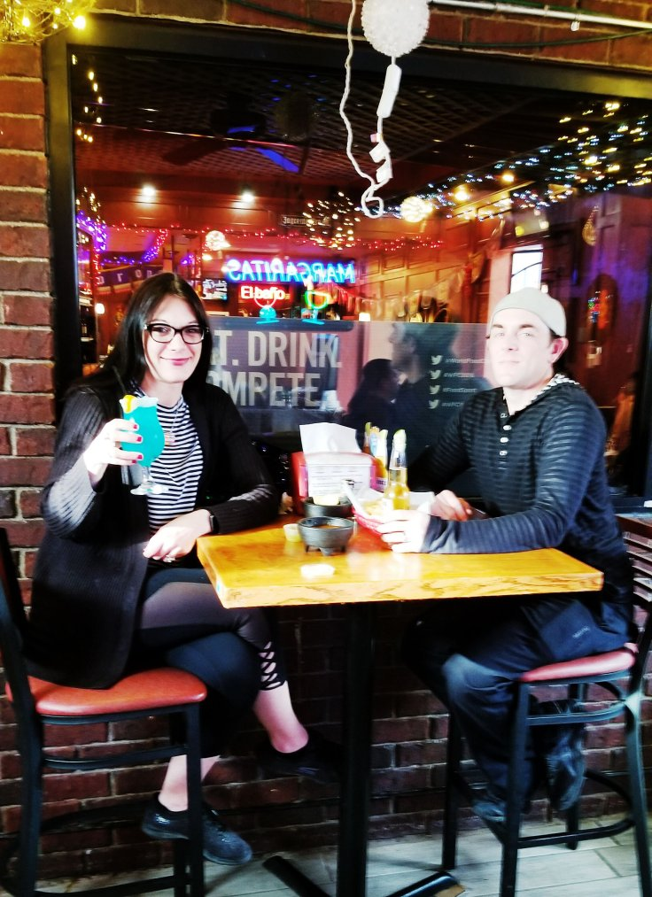 Me and my husband, Joe, enjoying our date night at Crazy Gringo Mexican Cantina - Give It A Whirl Girl