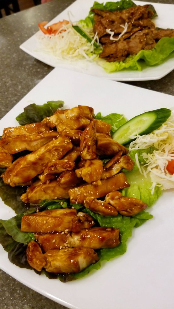 Chicken teriyaki and beef teriyaki at Sagano Japanese Steakhouse in Warren
