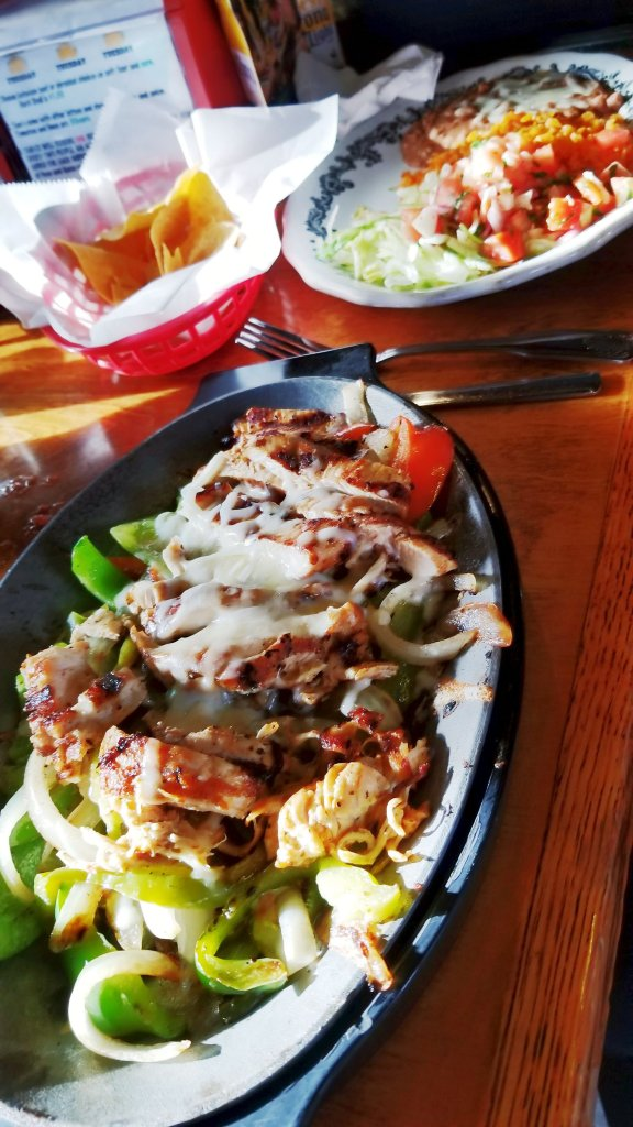 My husband's chicken fajitas at the Crazy Gringo Mexican Cantina