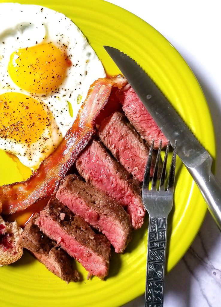 The ButcherBox flat-iron steaks are perfect for steak and eggs! How do you like your steak cooked?