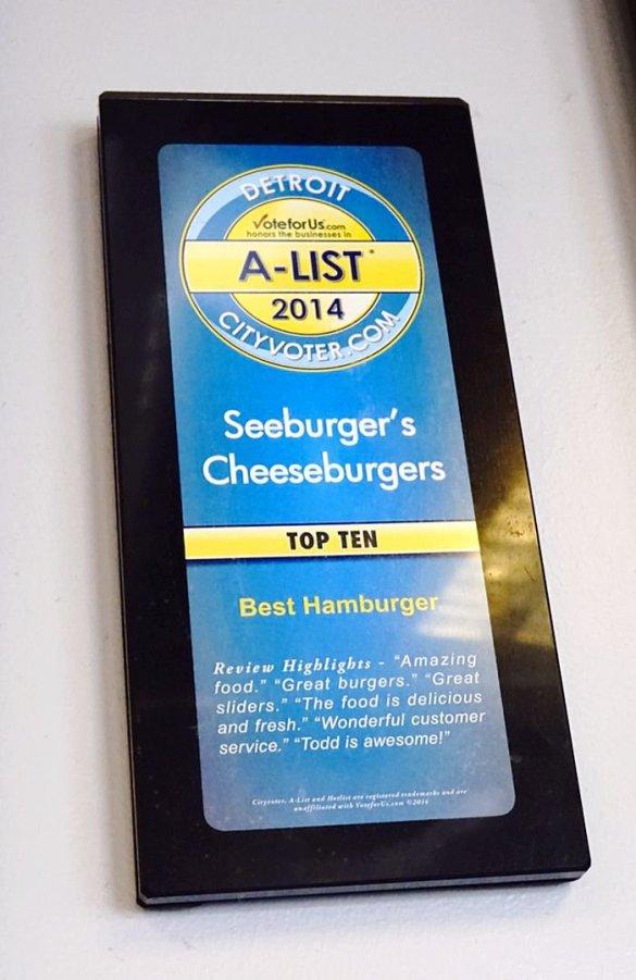 These are award-winning burgers at Seeburger's Cheeseburgers