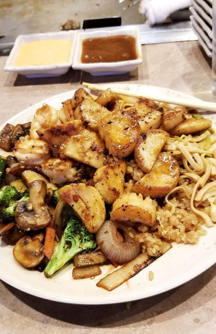 Here is the hibachi scallops at Sagano Japanese Steakhouse. You can use the Groupon for the hibachi grill.