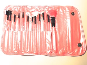 pink make-up brushes in case