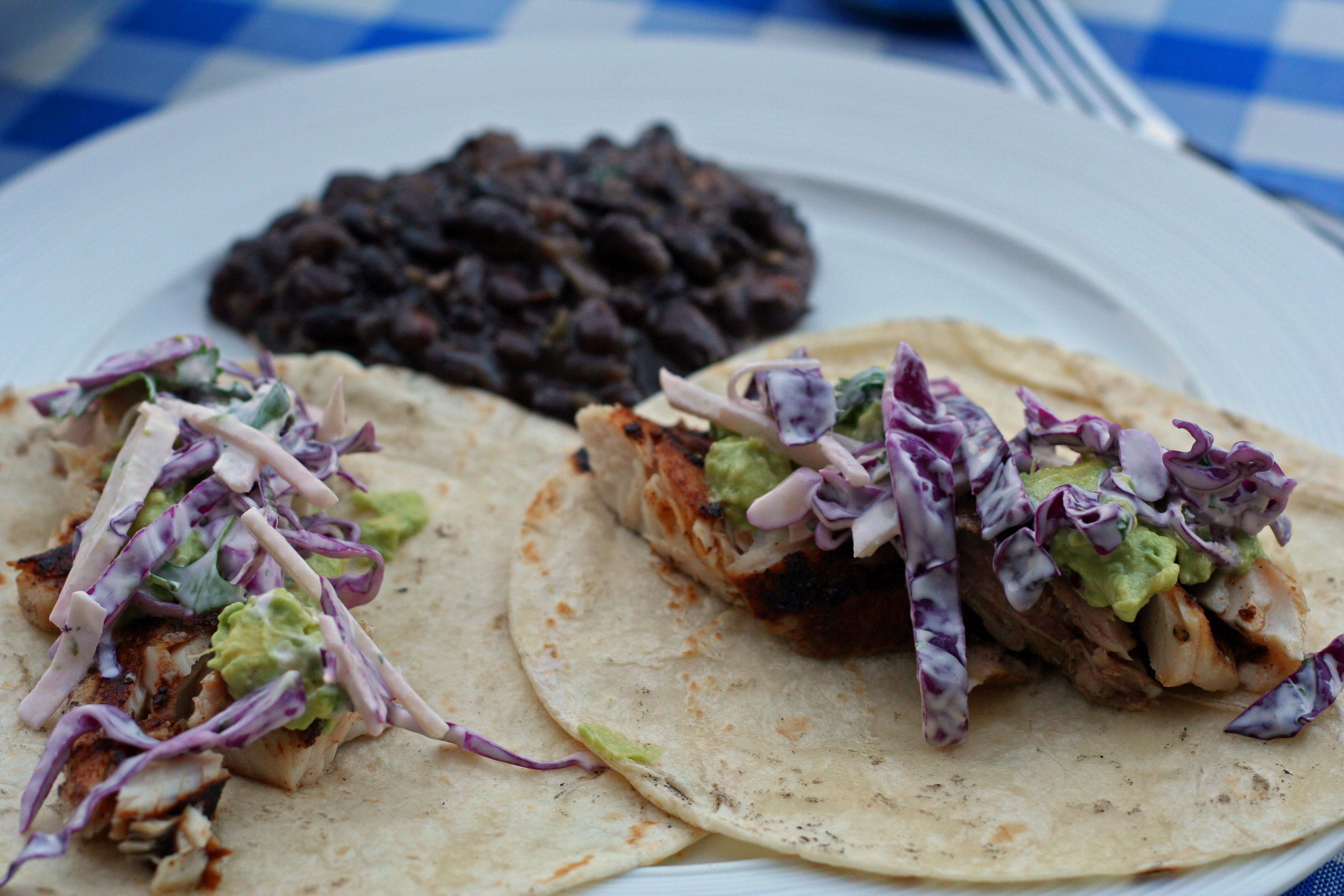 dave does dinner: grilled mahi mahi fish tacos with jicama slaw