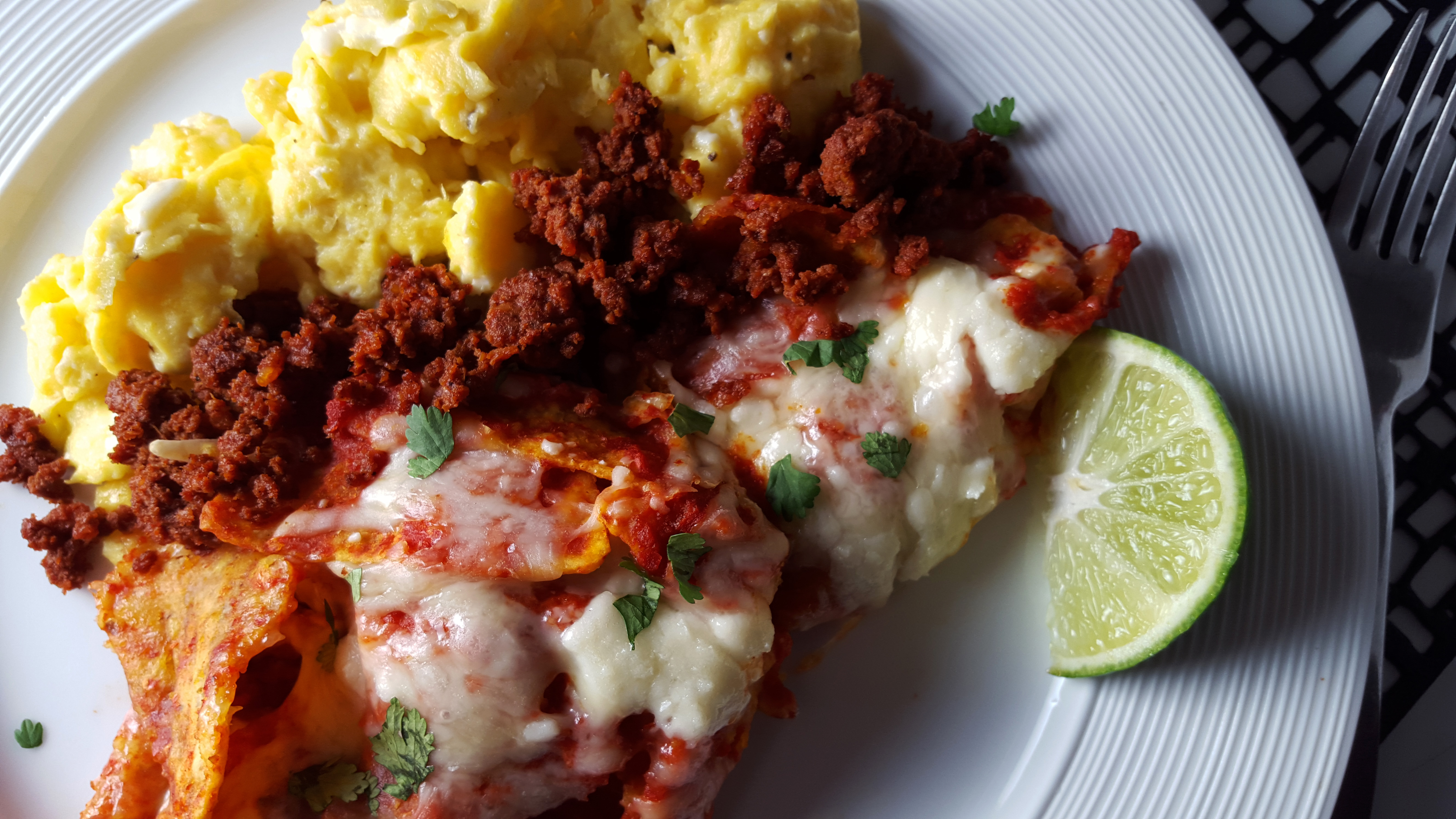 chilaquiles with chorizo and scrambled eggs