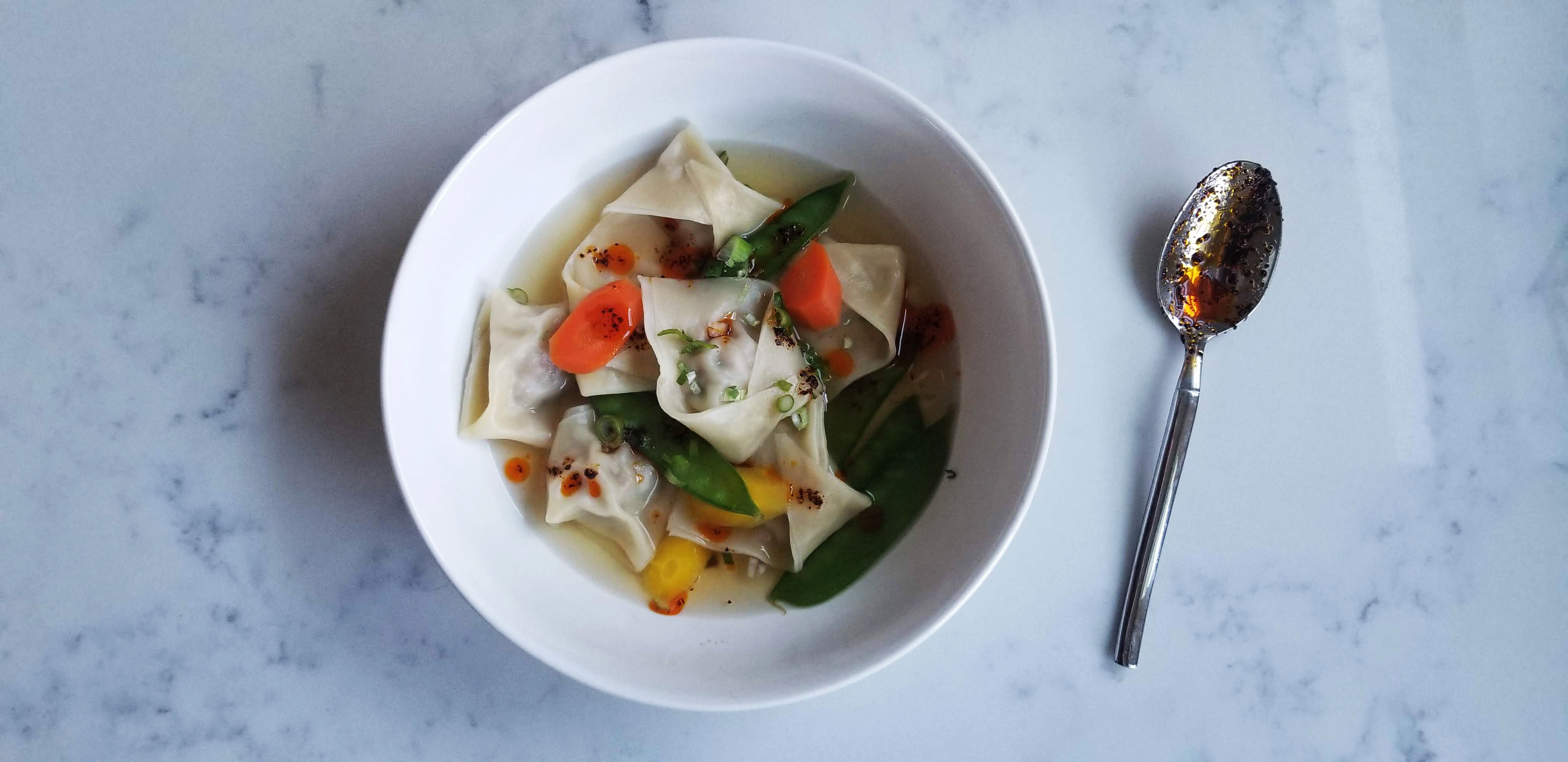 a new favorite: andrea nguyen wontons in gingery broth