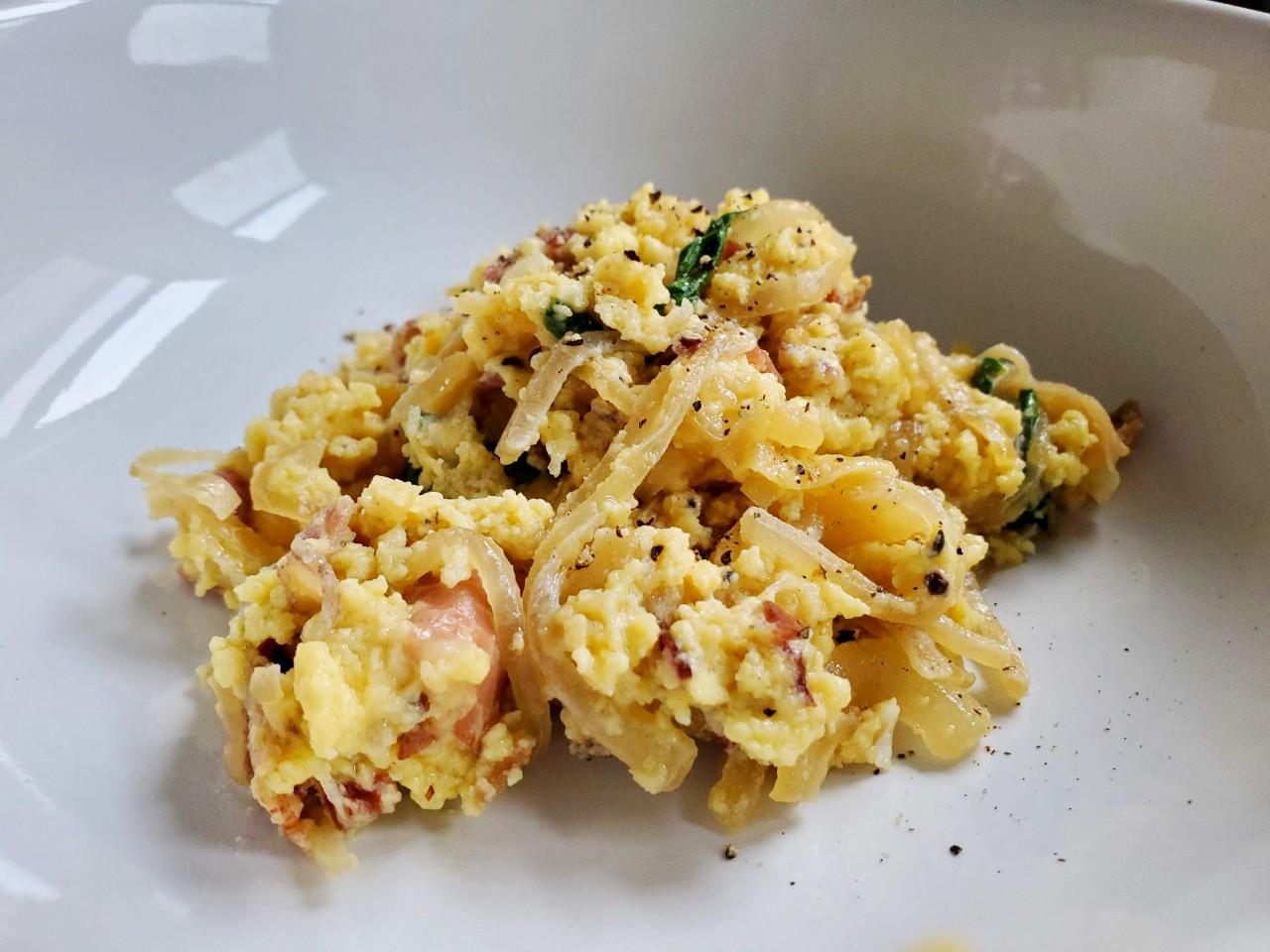 onion, ramp + pancetta egg scramble